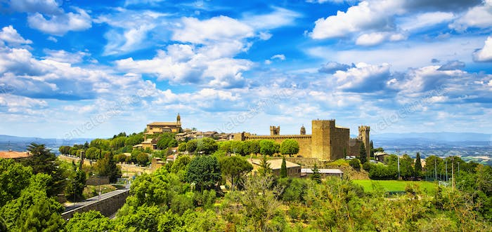 Tuscany, Montalcino medieval village, fortress and church. Siena, Italy