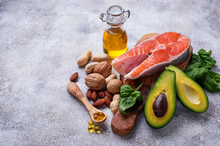 Selection of healthy fat and omega 3 sources.