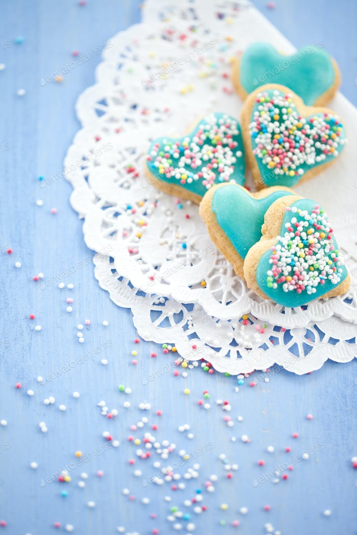 Heart-shaped cookies with blue glazing