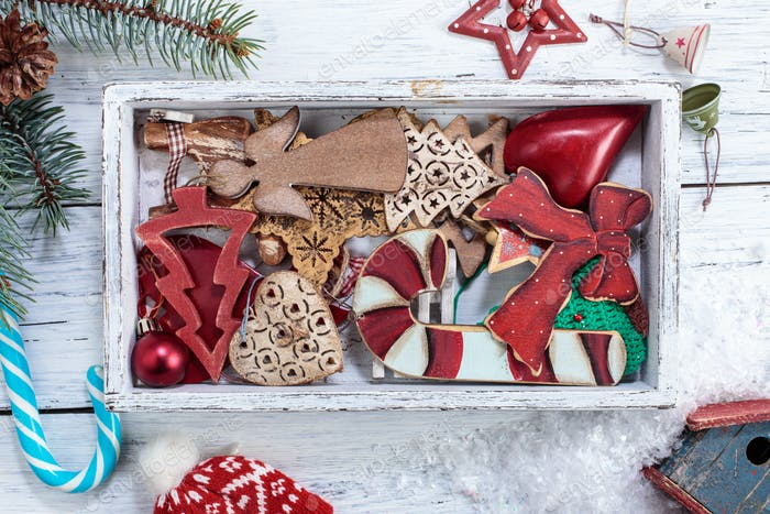 Vintage Christmas decorations in box