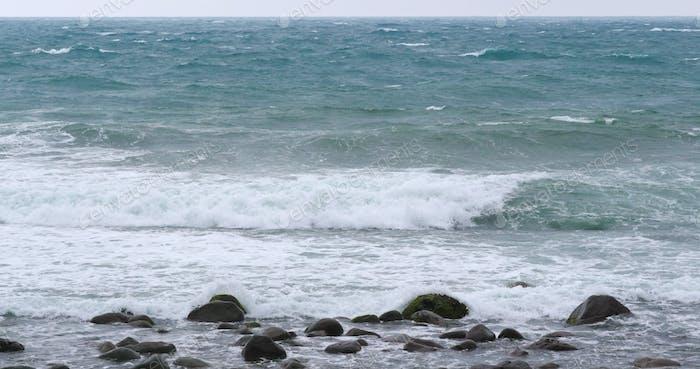 Seaside rocks on beach