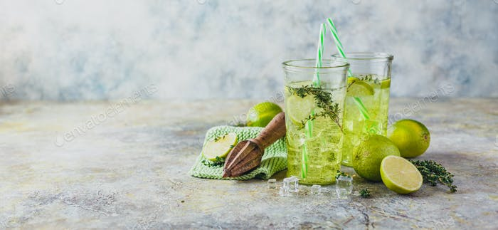 Lime Lemonade with thyme and ice.