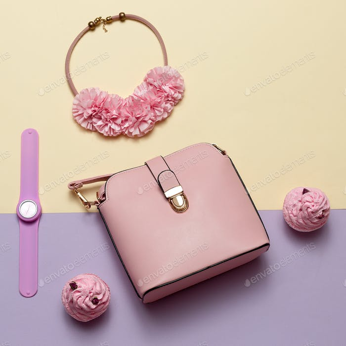 Ladies Fashion Accessories. Pink bag, watch, necklace. Pastel co
