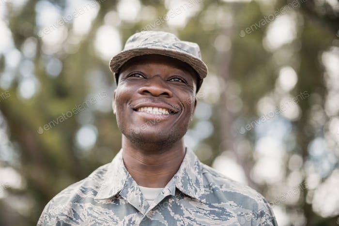 Close-up of happy military soldier