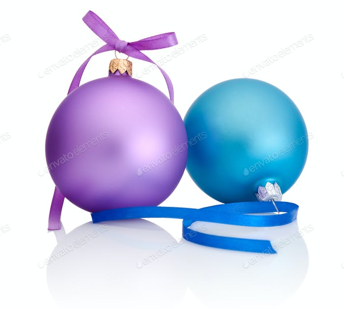 Purple and blue Christmas Ball with ribbon bow Isolated on white