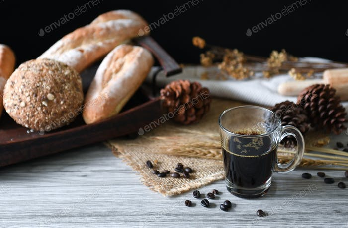 Americano coffee with bread.