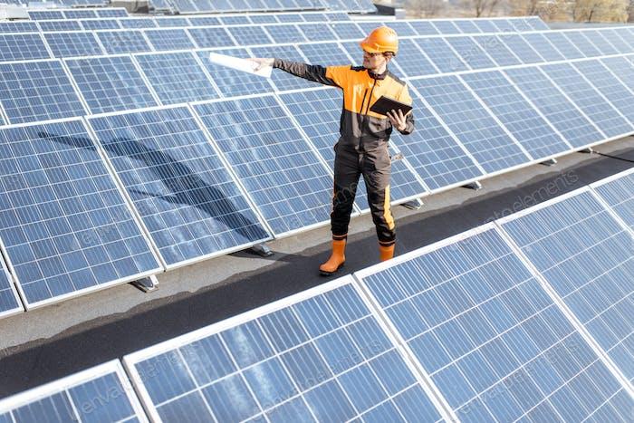 Engineer on a solar power plant