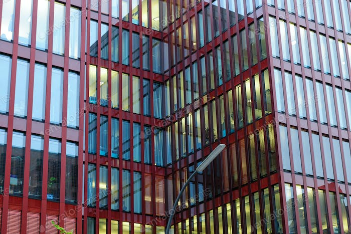 Red facade of an office building