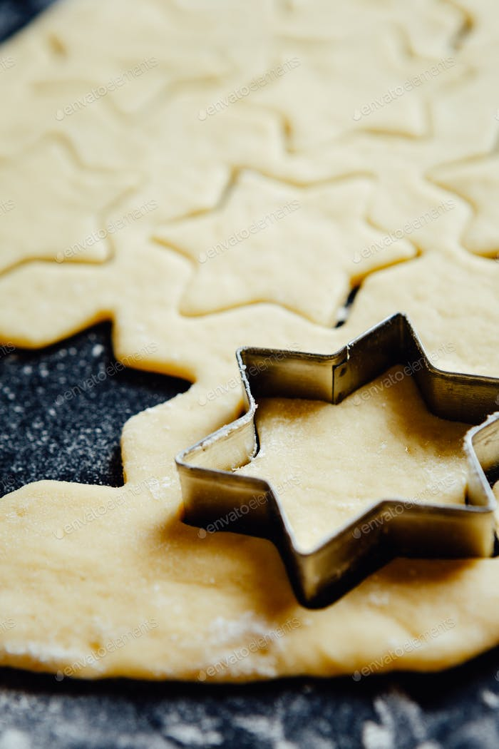 Star form placed in a cookie dough