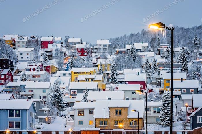 Hillside houses in Tromso in winter