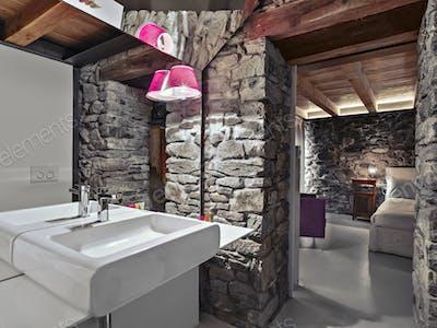 Interiors of a Rustic Bathroom