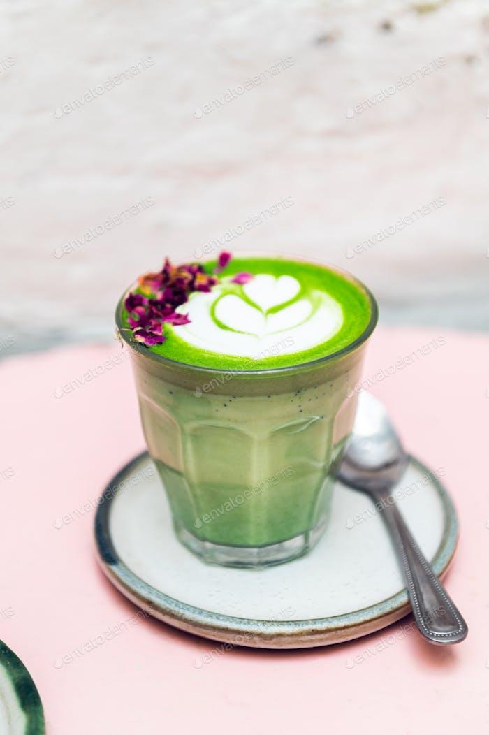 Rose Matcha from green tea powder