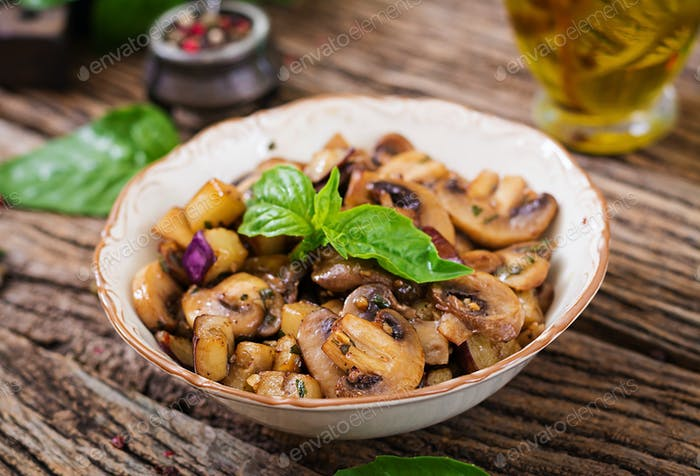 Saute with mushrooms, eggplant, aubergines and basil.
