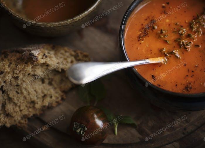 Close up of tomato soup food photography recipe idea