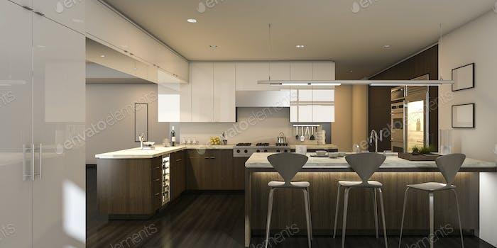 3d rendering warm light beautiful kitchen