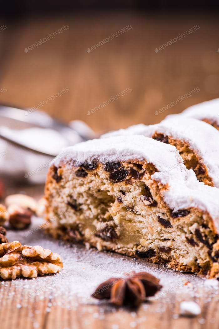 Traditional Christmas stollen cake