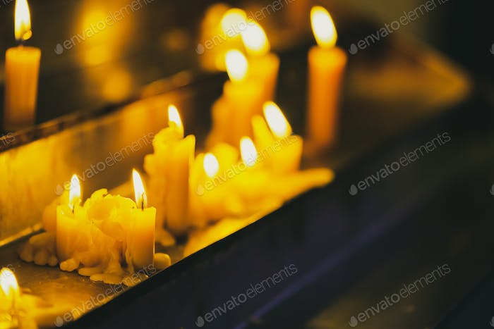 Candles In Church. Candle Light Flame
