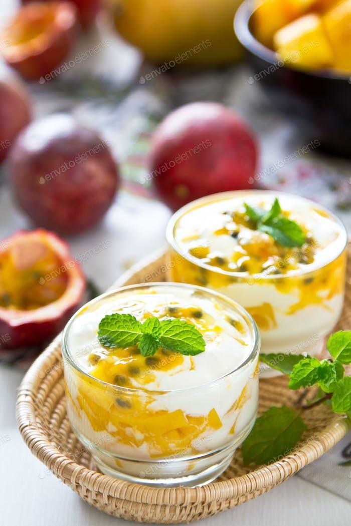 Passion fruit and Mango yogurt