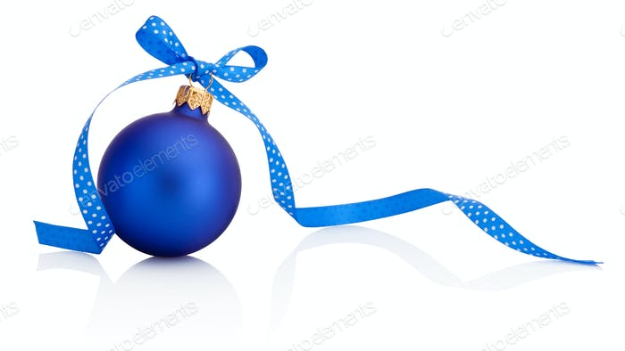 Blue Christmas bauble with ribbon bow Isolated on white backgrou
