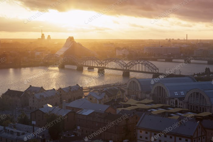 Panorama of Riga at sunset