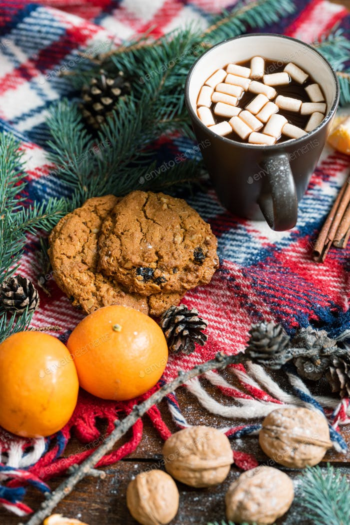 Hot drink with marshmallows, walnuts, mandarines and cookies on warm scarf