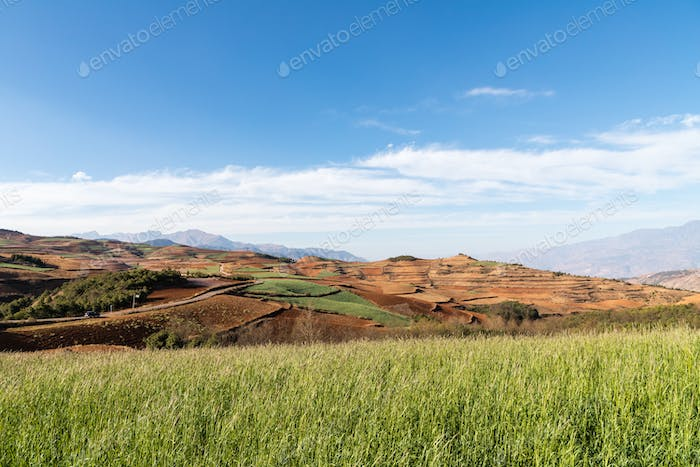 beautiful red land against a blue sky in dongchuan district, kunming city,yunnan, China