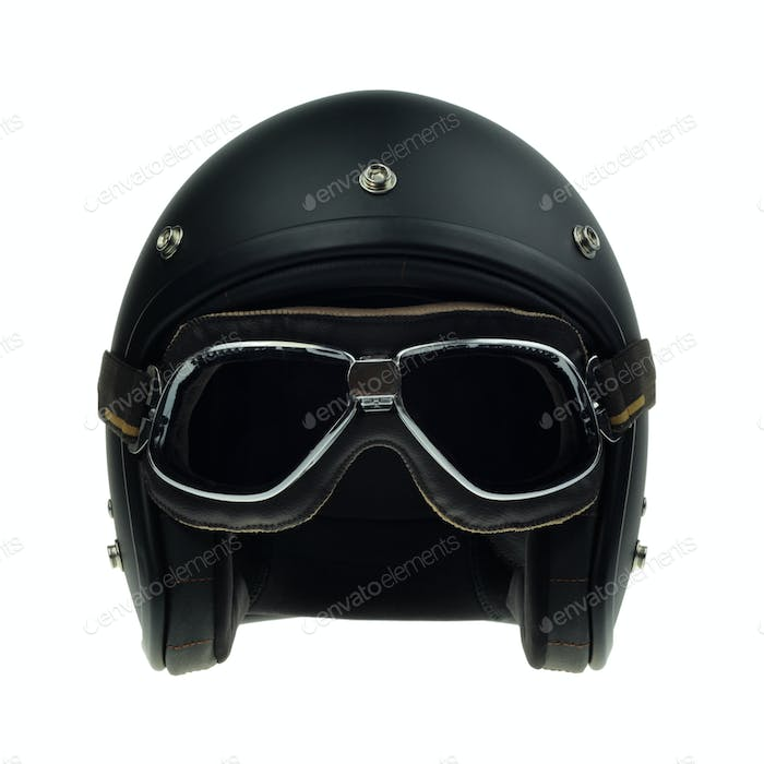 Black motorbike classic helmet and goggles
