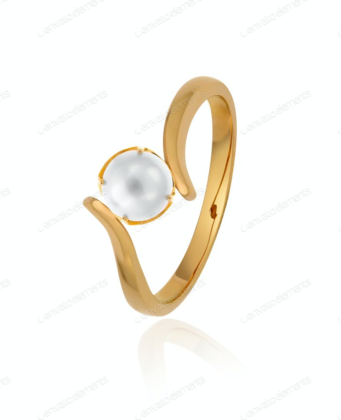 Gold ring with pearl on white