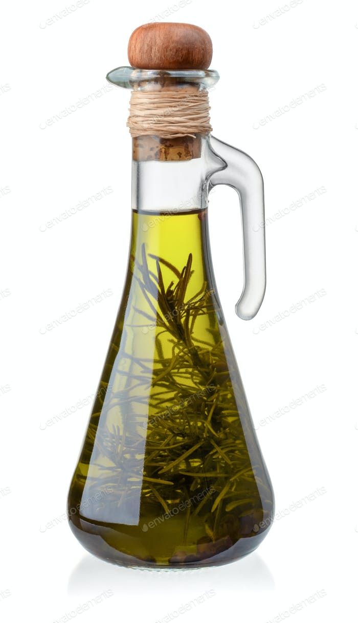 Bottle of olive oil with rosemary