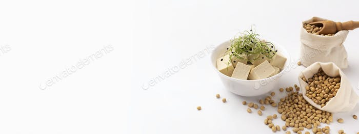 Tofu cubes in bowl and Microgreens on right