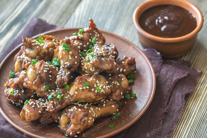 1Chicken teriyaki wings with barbecue sauce