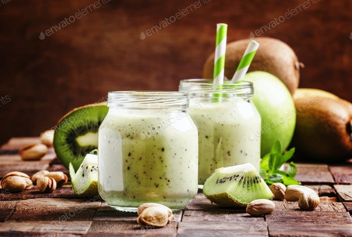 Healthy Smoothies from kiwi, banana, green apple and pistachios