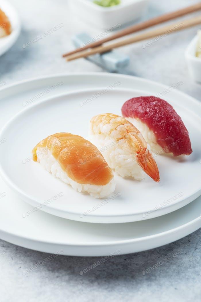 Mix of Traditional Japanese sushi