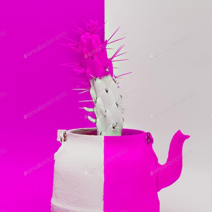 Creative Cactus in a teapot. Minimal art design