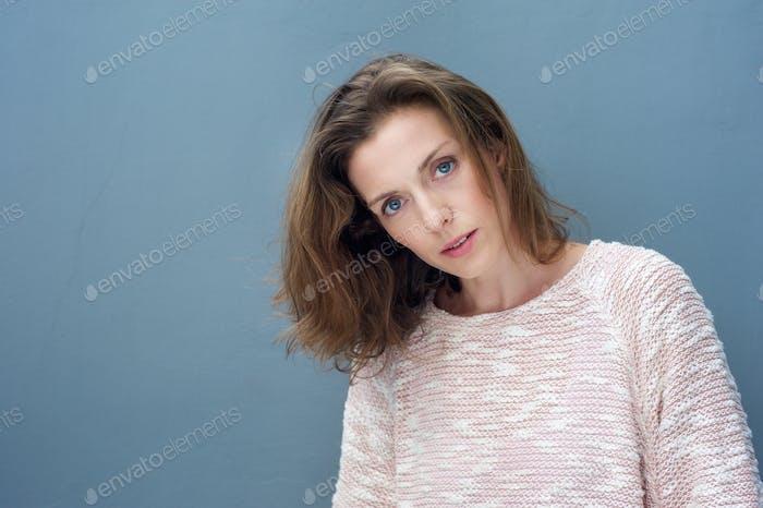 Beautiful woman in her 40s wearing sweater