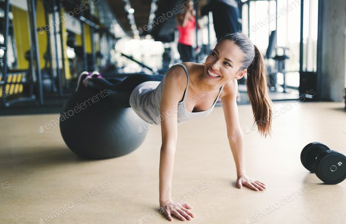 Athletic woman during aerobics training
