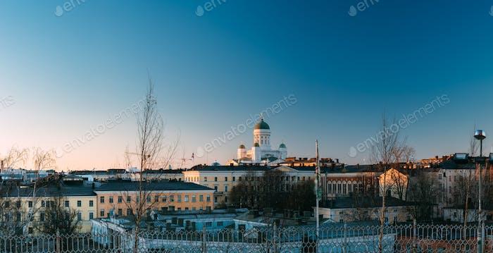 Helsinki, Finland. Skyline View Of Helsinki Cathedral In Sunny W