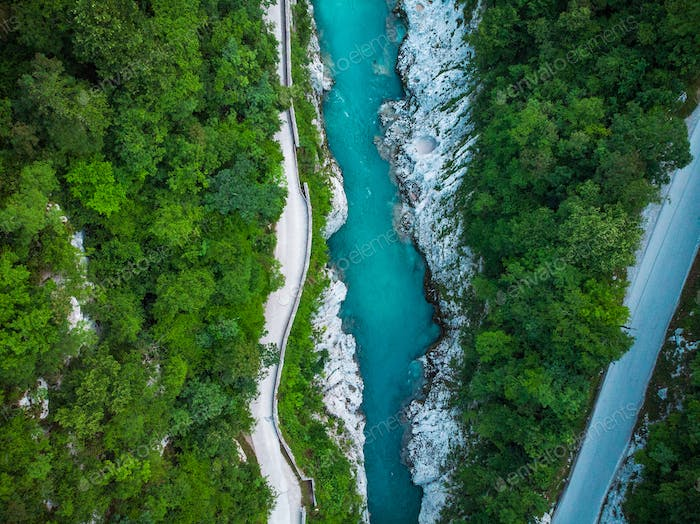 Aerial top down photo of road and Soca river in Slovenia