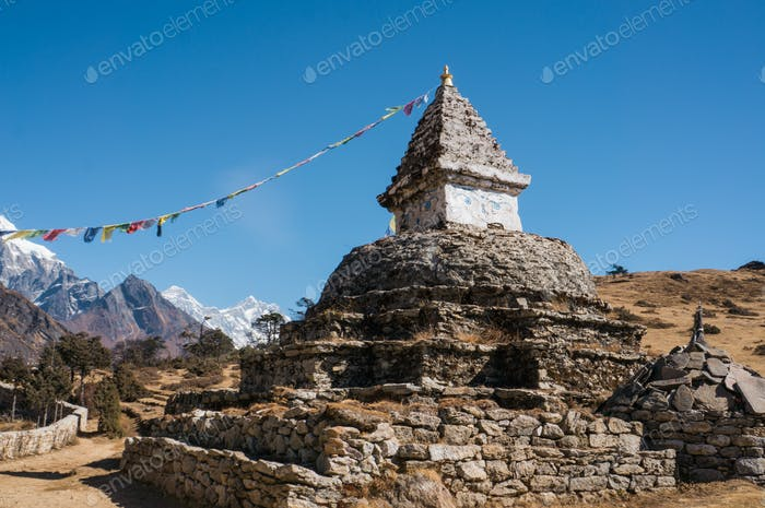 Old Building With Flags in Mountains With Blue Sky, Nepal, Sagarmatha Zone