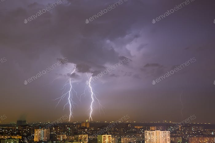 Lightning strike over city.