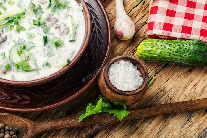 Okroshka,cold summer soup