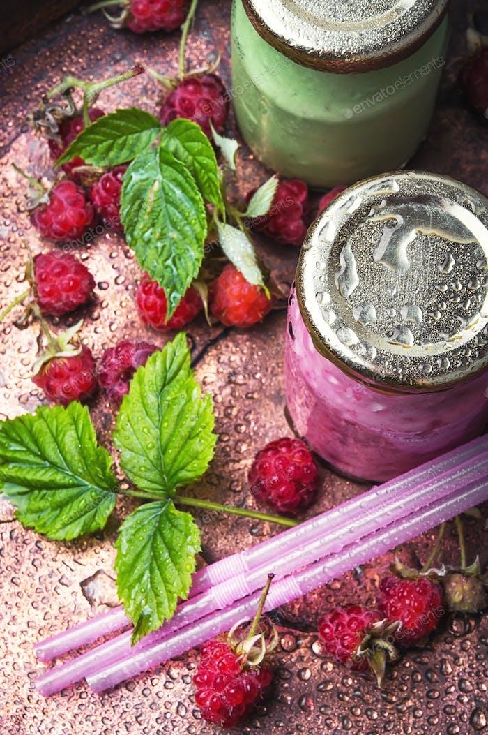 Healthy yogurt with raspberries