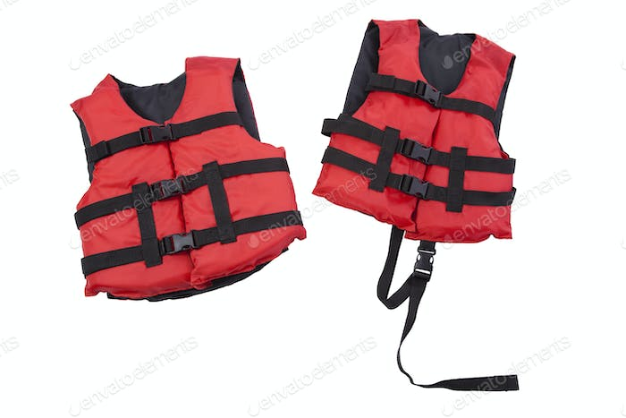 Youth and Child Life Preservers Isolated on White Background