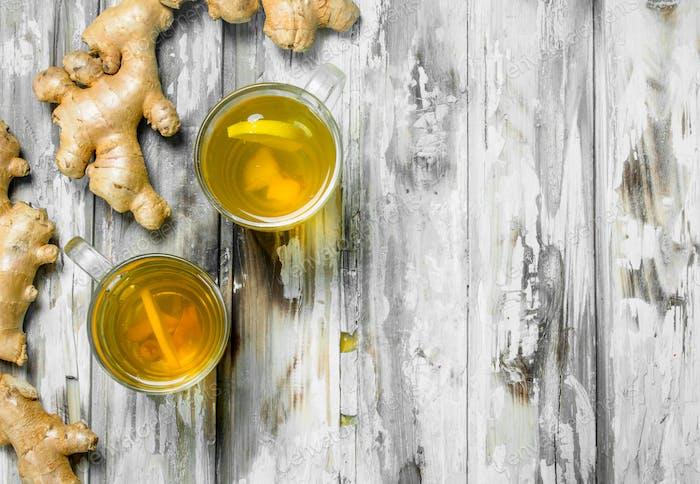 Ginger tea and fresh ginger.