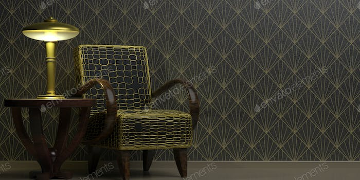 Art Deco style decoration, home interior. Classic vintage furniture on wallpaper background black