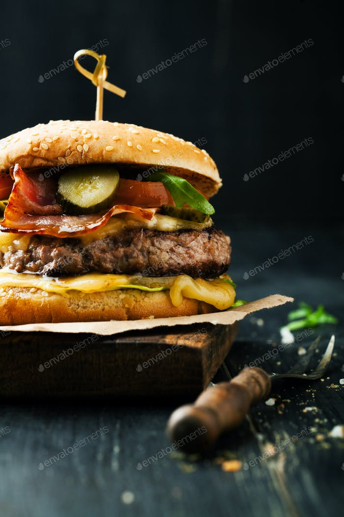 Delicious burger with meat and ingredients