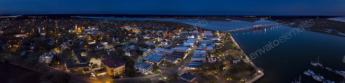 Aerial night panorama of small American town of Beaufort, South