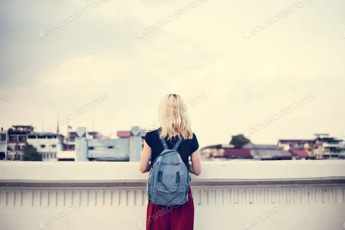 Woman Caucasian Traveler Explore Sky Concept