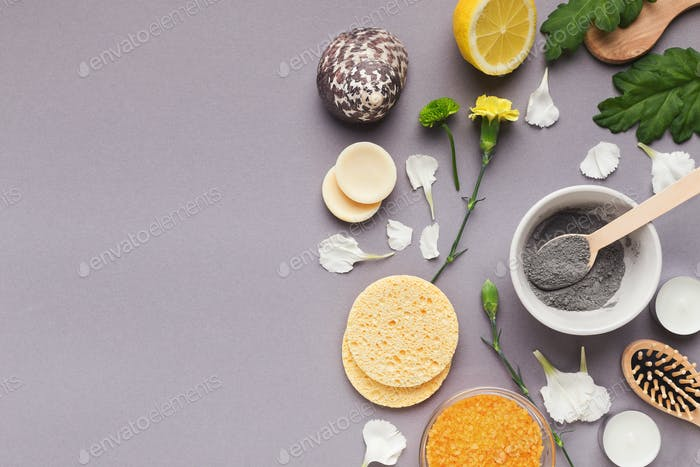 Natural cosmetic mask with different spa products