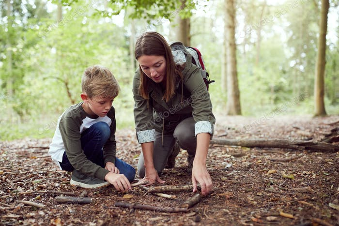 Female Team Leader With Boys At Outdoor Activity Camp Building Fire In Woodland Together